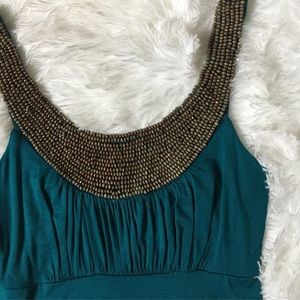 Dresses & Skirts - 2/$35 teal maxi dress with bead-detailed neckline